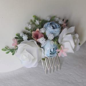 Virágos hajdísz, hajfésű alkalmakra , Esküvő, Táska, Divat & Szépség, Hajdísz, ruhadísz, Ruha, divat, Hajbavaló, Fehér, pasztel kék egy kis leheletnyi rózsaszínnel minőségi selyemvirágokból, rezgő, hamvas levelek ..., Meska