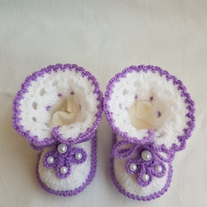 Horgolt babacipő, Ruha & Divat, Babaruha & Gyerekruha, Babacipő, Horgolás, Pártás kis cipő. Az ötletet a Pinterest - en láttam. 100 % akril bébifonalból horgoltam. Talpa: 9 cm..., Meska