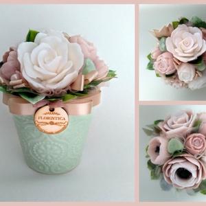 Szappan Csokor zöld kerámia kaspóban , Esküvő, Esküvői dekoráció, Otthon & lakás, Dekoráció, Csokor, Lakberendezés, Virágkötés, Szappankészítés, Szappan virágcsokor. \nA szappan virágokat én készítem és kötöm csokorba a kerámia kaspóba.\nA csokor ..., Meska