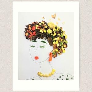 Flowerfaces virágkép- Tisztesség, Művészet, Művészi nyomat, Fotó, grafika, rajz, illusztráció, Narancs, citrom és barna színek dominálnak ebben a képben. Az arc kifejezéséről a bizalom és a megbí..., Meska