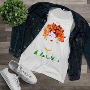 Női póló, női felső, Ruha & Divat, Női ruha, Póló, felső, Fotó, grafika, rajz, illusztráció, Viseld a kedvenc Virág Lady-t magadon!\nA Flowerfaces kizárólag 100%-os, puha anyagú pamut pólókat ha..., Meska