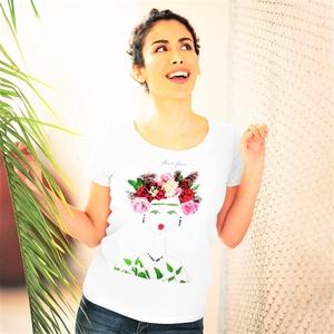 Női póló, női felső (Figyelmesség), Ruha & Divat, Női ruha, Póló, felső, Fotó, grafika, rajz, illusztráció, Viseld a kedvenc Virág Lady-t magadon!\nA Flowerfaces kizárólag 100%-os, puha anyagú pamut pólókat ha..., Meska