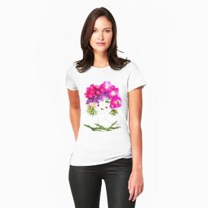 Női póló, női felső (Játékosság), Ruha & Divat, Női ruha, Póló, felső, Fotó, grafika, rajz, illusztráció, Viseld a kedvenc Virág Lady-t magadon!\nA Flowerfaces kizárólag 100%-os, puha anyagú pamut pólókat ha..., Meska