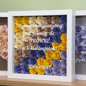 Flower Frame virágkeret, Dekoráció, Otthon & lakás, Esküvő, Nászajándék, Kép, Papírművészet, Gravírozás, pirográfia, A termék teljes mértékben személyre szabható:\nTe választhatod ki a virágok színeit (lásd a képek köz..., Meska