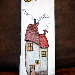 Dupla házikó, Otthon & Lakás, Dekoráció, Kép & Falikép, Mindenmás, Porcelán agyagból, egyedi készítésű 3D-s kép. 27x14 cm-es rusztikus fa alapon, akasztóval ellátva. ..., Meska