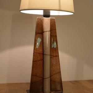Üveg design lámpa, Otthon & lakás, Dekoráció, Lakberendezés, Lámpa, Asztali lámpa, Hangulatlámpa, Üvegművészet, Kemencében olvasztott színes-üveg lámpa.\nA lámpa alsó része üvegből készült a búrája textilből.Minde..., Meska
