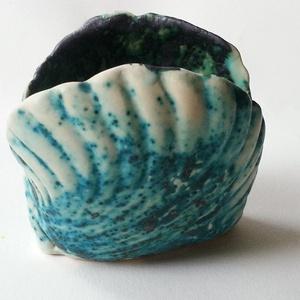 tengerkék kagylós tálka (Foenx) - Meska.hu