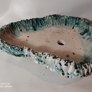 Kék-fehér mázatlan kurama bonsai tál (Foenx) - Meska.hu