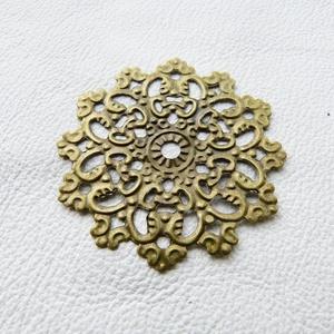 Kör alakú - 5db - bronz, Gyöngy, ékszerkellék, Egyéb alkatrész, Fémmegmunkálás, ötvösség, Vas ötvözet fém csipkék kör alakban, bronz színben. Használható mint köztes, összekötő vagy veret. ..., Alkotók boltja