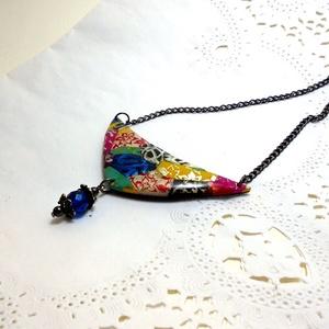 Bohém nyaklánc, Boho sikkes ékszerek, Ékszer, Nyaklánc, Medálos nyaklánc, Ékszerkészítés, Mozaik, Bohém színes nyaklánc színes mozaikkal. Érdekes ékszer a boho, hétköznapi vagy mindennapi ruhákhoz.\n..., Meska