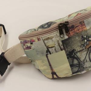 Párizsos-biciklis övtáska, Táska, Divat & Szépség, Táska, Válltáska, oldaltáska, Varrás, A nyaralás,de akár a hétköznapok kényelmes kelléke lehet az övtáska.\nMinden kéznél van benne egy fag..., Meska