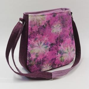 Orgonalila álom-női táska, Táska & Tok, Kézitáska & válltáska, Vállon átvethető táska, Orgonalila és magenta színekben pompázik ez a mandalamintás női válltáska. Előlapja csodásan ragyogó..., Meska