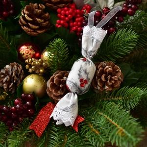 Szaloncukor - ezüst-bordó, Karácsony, Karácsonyi lakásdekoráció, Karácsonyfadíszek, Varrás, Meska