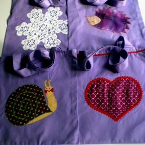 Szivecskés lila szatyor  - táska & tok - bevásárlás & shopper táska - shopper, textiltáska, szatyor - Meska.hu