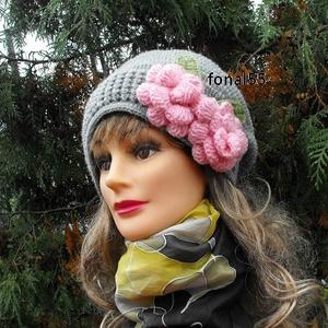 Horgolt női szürke sapka-kalap! (fonal55) - Meska.hu