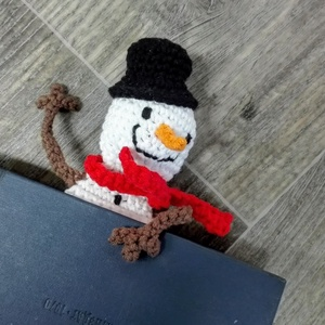 Vidám hóember könyvjelző, Otthon & Lakás, Papír írószer, Könyvjelző, Horgolás, Meska