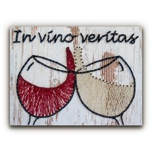 """DIY Fonalkép készlet - Koccintás (fehér), DIY (Csináld magad), Egységcsomag, Fotó, grafika, rajz, illusztráció, Fonás (csuhé, gyékény, stb.), \""""A bor több, mint szimplán egy alkoholos ital. Egy pohár fehér vagy vörös a kedvenceink közül jelent..., Meska"""