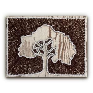 """DIY Fonalkép készlet - Lombos fa (fehér), DIY (Csináld magad), Egységcsomag, Fotó, grafika, rajz, illusztráció, Fonás (csuhé, gyékény, stb.), \""""A tavaszi ébredő természet szépsége tagadhatatlan. Egy terebélyes lombú fa jó érzést kelt az emberb..., Meska"""