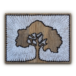 """DIY Fonalkép készlet - Lombos fa (barna), DIY (Csináld magad), Egységcsomag, Fotó, grafika, rajz, illusztráció, Fonás (csuhé, gyékény, stb.), \""""A tavaszi ébredő természet szépsége tagadhatatlan. Egy terebélyes lombú fa jó érzést kelt az emberb..., Meska"""