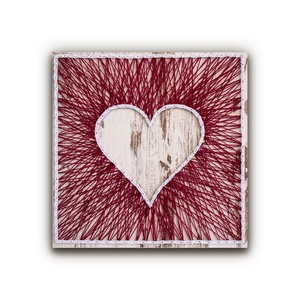 """DIY Fonalkép készlet - Szív (fehér), DIY (Csináld magad), Egységcsomag, Fotó, grafika, rajz, illusztráció, Fonás (csuhé, gyékény, stb.), \""""A szív motívumot senkinek sem kell bemutatni. Jelképezi a romantikát, az odaadást és a szenvedélyt,..., Meska"""
