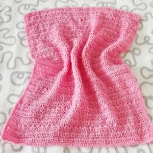 Tündérlány - rózsaszín babatakaró , Játék & Gyerek, Horgolás,  \nEz a horgolt kis takaró rózsaszín fonalból készült. Szélein körbehorgoltam. Egyedi ajándéknak is i..., Meska