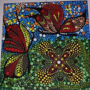 Pontozott pillangó , Művészet, Más művészeti ág, Festett tárgyak, Pontozott technikával készült cukiság\nKép címe :  Találka\nMérete :\n16*16cm, Meska