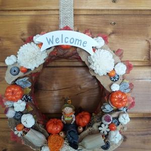 Őszi kopogtató, Otthon & lakás, Dekoráció, Dísz, Virágkötés, Ez a hangulatos, őszi kopogtató szép dísze lehet a bejárati ajtódnak. Festett szalmaalapra száras vi..., Meska