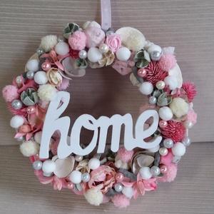 Pink-fehér-ezüst kopogtató, Otthon & lakás, Dekoráció, Ünnepi dekoráció, Karácsony, Karácsonyi dekoráció, Mindenmás, Virágkötés, Ez a vidám pink-fehér kopogtató igazán feldobhatja a bejárati ajtódat! Télen sem elég a rózsaszínből..., Meska