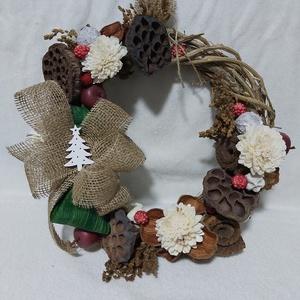 Natúr karácsonyi ajtódísz, Otthon & lakás, Dekoráció, Ünnepi dekoráció, Karácsonyi, adventi apróságok, Dísz, Karácsonyi dekoráció, Mindenmás, Virágkötés, Szeretem a természetes anyagokat, és minden évben készítek hagyományos, natúr díszeket is. Remélem, ..., Meska
