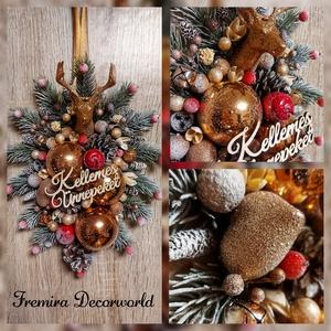 Ajtódísz , Karácsony & Mikulás, Karácsonyi kopogtató, Virágkötés, A karácsonyi hangulathoz elengedhetetlen egy kellemes ajtódisz. A bronz színű  szarvasfej környezeté..., Meska