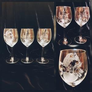 Garavírozott pohár, Karácsony & Mikulás, Gravírozás, pirográfia, Kézzel gravírozott üvegpoharak egyedi \nmotívummal és szöveggel is kérhetőek., Meska