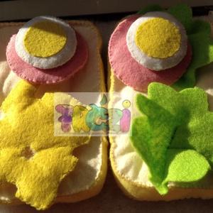 fic játék szendvics, Gyerek & játék, Konyhafelszerelés, Otthon & lakás, Játék, Gyerekszoba, Hímzés, Varrás, A szendvics 2 szelet kenyérből,  2 salátalevélből, 2 tojásból, 1 sajtból és 2 felvágott szeletből ál..., Meska