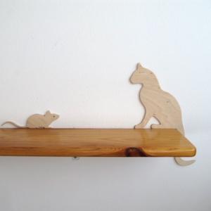 Macska egérrel dekoráció (Pl. ajtóra, polcra, képkeretre) - otthon & lakás - dekoráció - dísztárgy - Meska.hu