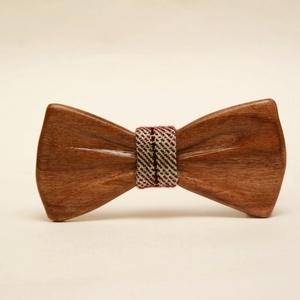 Csokornyakkendő tömör diófából (őszi színes, mintás anyaggal), Esküvő, Nyakkendő, Kiegészítők, Famegmunkálás, Meska