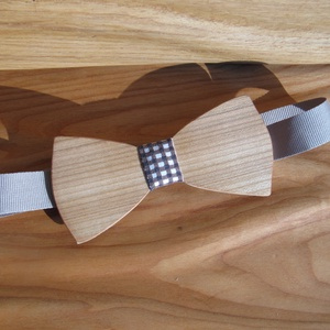 Fa csokornyakkendő (kockás anyaggal), Ruha & Divat, Nyakkendő, Férfi ruha, Famegmunkálás, Meska