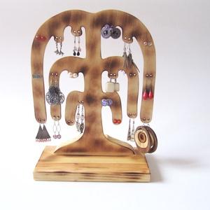 Ékszertartó fa - 20 pár fülbevalónak, Asztali ékszertartó, Ékszertartó, Ékszer, Famegmunkálás, Ez a kézzel készített, saját tervezésű, szomorúfűz formájú ékszertartó kifejezetten fülbevalóknak ké..., Meska