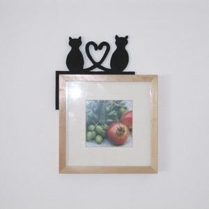 Összefonódó farkú cicás dekoráció, Otthon & Lakás, Falra akasztható dekor, Dekoráció, Famegmunkálás, Meska