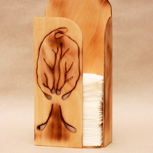 """Papírzsebkendő tartó (fával), Zsebkendőtartó, Tárolás & Rendszerezés, Otthon & Lakás, Famegmunkálás, Fából készült \""""fa\"""" mintájú papírzsebkendő tartó.\n\nFalra is akasztható, de szép dísze lehet fürdőszob..., Meska"""