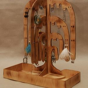 Ékszertartó fa - 51 pár fülbevalónak, gyűrűknek, Asztali ékszertartó, Ékszertartó, Ékszer, Famegmunkálás, Ez a kézzel készített, saját tervezésű 3d-s, szomorúfűz formájú ékszertartó kifejezetten fülbevalókn..., Meska