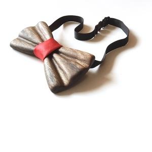 Diófa csokornyakkendő (vörös szaténnal), Ruha & Divat, Nyakkendő, Férfi ruha, Famegmunkálás, Varrás, Meska
