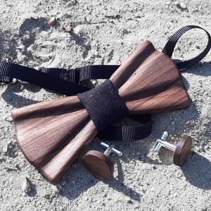 Klasszikus csokornyakkendő és mandzsetta diófából, szettben - ruha & divat - férfi ruha - nyakkendő - Meska.hu