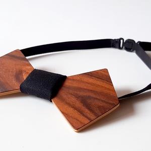 Fa csokornyakkendő paliszander furnérral, fekete anyaggal - ruha & divat - férfi ruha - nyakkendő - Meska.hu