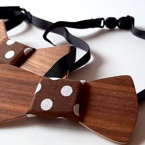Apa és Fia csokornyakkendő szett (barna pöttyös anyaggal) - Meska.hu
