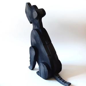 Deszkából készült snauzer kutya szobor - otthon & lakás - dekoráció - táblakép - Meska.hu