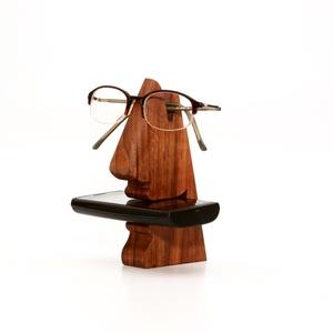 Mosolygós:-) mobiltartó és szemüvegtartó, 2in1 - diófából, Otthon & Lakás, Tárolás & Rendszerezés, Famegmunkálás, Meska