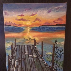 A mólón, Otthon & lakás, Képzőművészet, Festmény, Akril, Festészet, Akrillal készült, 30x40 cm-es tájkép. Az alkony a vízparton egy mólóról szemlélve. , Meska