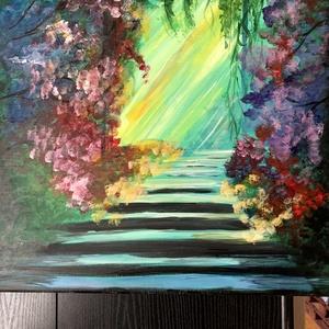 Titkos kert, Művészet, Festmény, Akril, Festészet, Vászon, akril festmény, 40x40 cm, egyedi készítésű, Meska