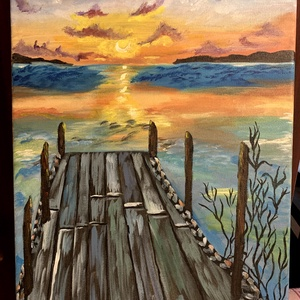 naplemente a molónál, Művészet, Festmény, Akril, Festészet, 40x30 cm-es, akril vászon festmény, egyedi kivitel, Meska
