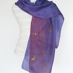 kékes-lila árnyalatú vastagabb , elegáns , kevés arany  mintájú hernyóselyem sál (FullcolorMuhely) - Meska.hu