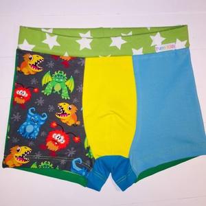 ZAZI szörnyecske mintás boxer, Táska, Divat & Szépség, Ruha, divat, Gyerekruha, Gyerek (1-10 év), Varrás, Kék-zöld-narancs színes szörnyecske mintás kisfiú boxer zöld csillagos derékrésszel és sárga-kék ele..., Meska